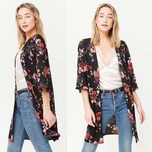 🖤💐 Black Floral Open Cardigan NWT